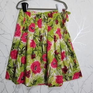 Talbots Green Floral Print Pleated A-Line Skirt